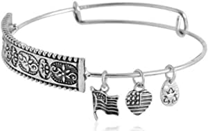 Silver Plated Carve Patterns with Flags Charm Bracelet -E
