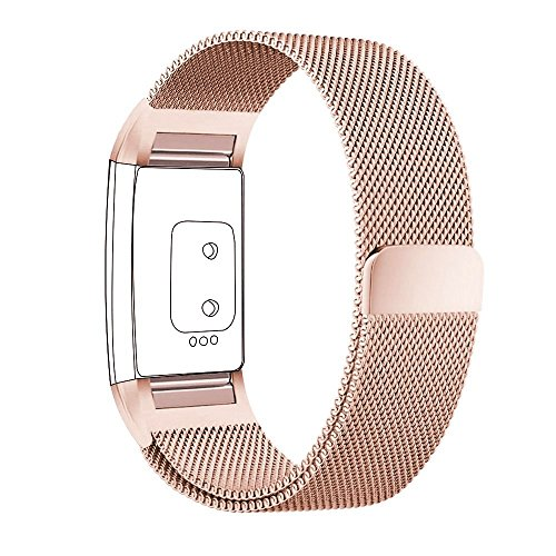 hooroor for Fitbit Charge 2 Bands Small Large for Women Men, Milanese Loop Stainless Steel Metal Sport Bracelet Strap with Unique Magnet Lock Replacement Wristbands for Fitbit Charge 2 Fitness Tracker