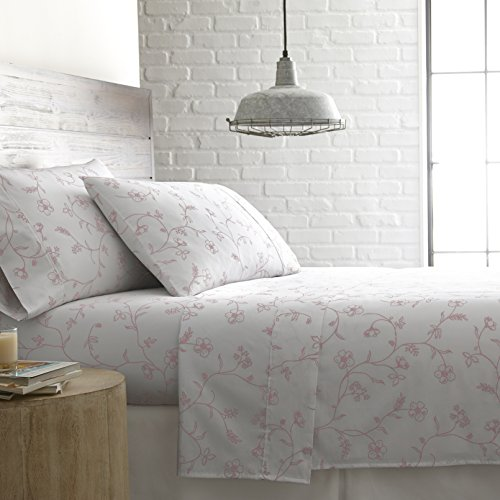 Southshore Fine Linens - BRITEYARN - Sweetbrier Print - 300 Thread Count 100% Cotton Extra Deep Pocket Sheet Set, White with Pastel Pink Flowers, Queen - Extra Fine Linen