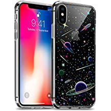 iPhone X Clear Case, GMYLE Holographic Galaxy Stars Astronaut Outer Space Saturn Zodiac Cartoon Design Sparkle Bling Shiny Protective Soft TPU Bumper Hard Back Case for Apple iPhone X, Planets Pattern