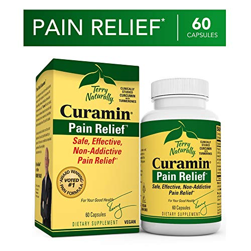 Terry Naturally Curamin - 60 Vegan Capsules - Non-Addictive Pain Relief Supplement with Curcumin from Turmeric, Boswellia & DLPA - Non-GMO, Gluten-Free ()