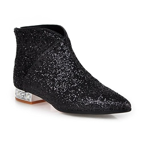 Kaloosh Women's Synthetic Glitter Pointed Toe and Block Heel Boots Black LDSp6T