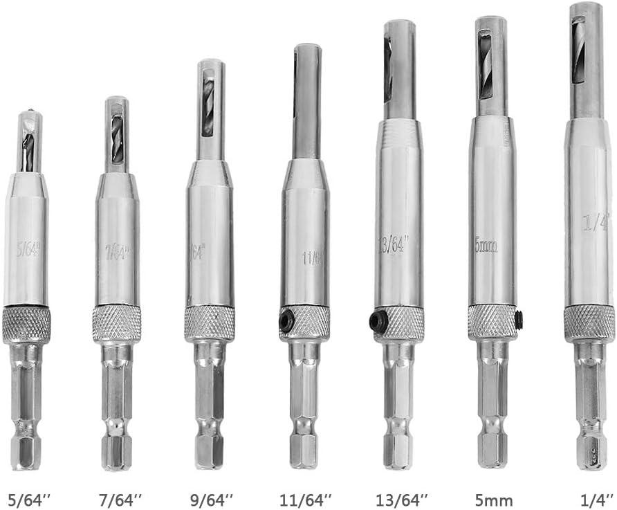 7//64 5mm 9//64 1//4 Woodworking Tools Cabinet Door 5//64 7 Pcs Self Centering Drill Bit Set 11//64 13//64