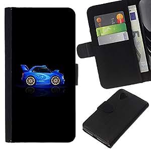 For LG Nexus 5 D820 D821 Case , Car Blue Black Racing Drive Rally - la tarjeta de Crédito Slots PU Funda de cuero Monedero caso cubierta de piel