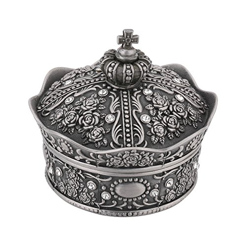 - Silver Crown Shaped Rose Flower Carved Zinc Alloy Jewelry Box Case for Necklace Earring Accessories Jewellry Storage Home Decor