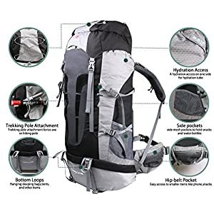 Yitrust Huge Internal Frame Backpack Bag for Hiking Camping Travel Sports 70L+10L with Rain Cover (Black)