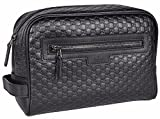 Gucci Men's Leather Micro GG Guccissima Large Toiletry Dopp Bag (Black)
