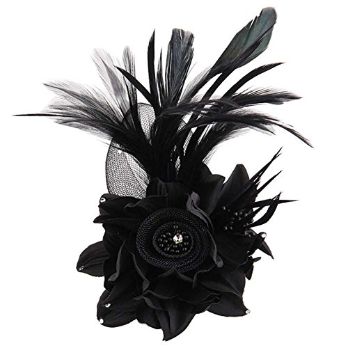Brooch Feather - ACTLATI Charming Mesh Feather Hair Clip Women Girls Hairpin Cocktail Party Flower Barrette Fascinator Hat Black