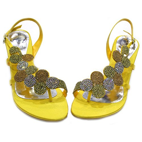 W&W WOMEN LADIES DIAMANTE WEDDING BRIDESMAID PARTY EVENING FASHION SANDALS SIZE 4-11 (Silver,Gold,Orange,Royal Blue,Baby Pink, Green)MIZRA Lemon