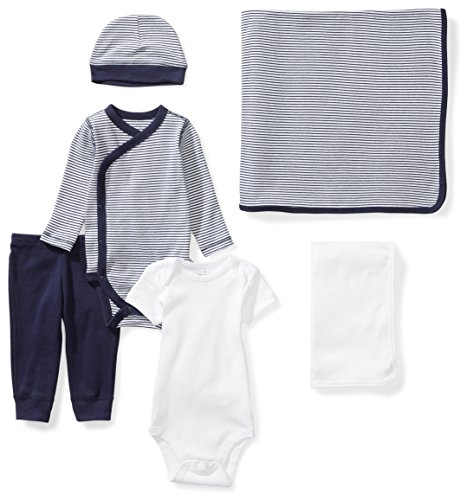 Unisex Layette Baby (Moon and Back Baby 6-Piece Organic Playtime Gift Set, Navy Sea, 0-3 Months)