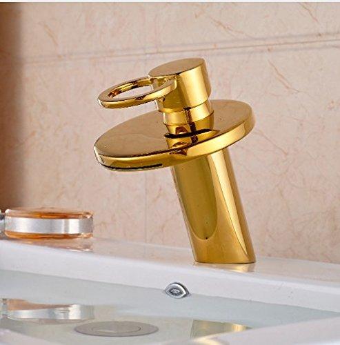 Gowe Golden Brass Deck Mounted Bathroom Basin Faucet Bathroom Waterfall Sink Water Mixer tap 2