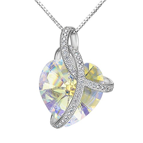 EleQueen Swarovski Crystals Heart Pendant Necklace-925 Sterling Silver-Cubic Zirconia Necklace-Gifts for Women, Box Chain 19'' Iridescent Aurora Borealis AB