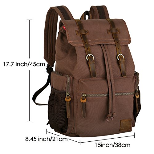 best Wowbox 17 Inch Laptop Canvas Backpack Unisex Vintage Leather Casual  Rucksack School College Bags Satchel 624f0e6937921