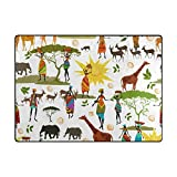 Vantaso Soft Foam Area Rugs Africa Women Elephant Non Slip Play Mats for Kids Boys Girls Playing Room Living Room 80x58 inch