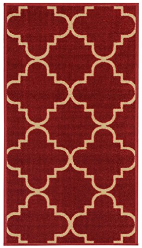 Anti-Bacterial Rubber Back RUGS RUNNERS Non-Skid/Slip 2x5 Runner Rug | Red Moroccan Trellis Thin Low Profile Modern Home Floor Bathroom Kitchen Hallways Colorful Decorative Rug