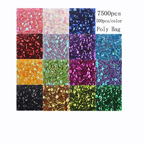 Cup Sequins Bagged Iridescent Spangles Craft Mixed 15 Colors 6mm 7500Pcs Rainbow Sequin Bulk Assorted for DIY Arts Crafts Making by CCINEE