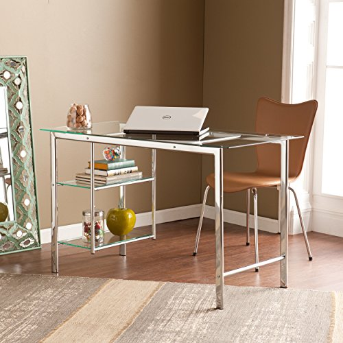 Southern Enterprises Oslo Glass Writing Desk 47 Wide – Two Fixed Shelves w Broad Glass Tabletop