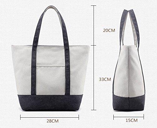 Frauen Jahrgang Leinwand Schulter Ipad Messenger Handtasche Seite Sport Tasche ,Grey-OneSize
