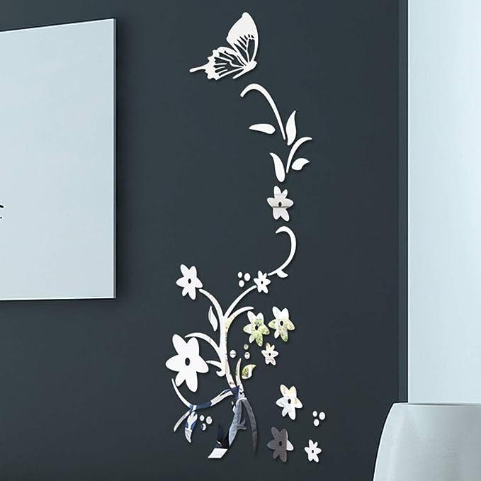 Modaworld Adhesivos de Pared acrílicos Mariposa de la Flor ...