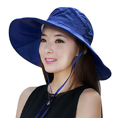 C.C-US Women Summer Rain Hat UV UPF 50 Sun Protection Wide Brim Hat Sun Hat Foldable Bucket - Packable Hat Rain