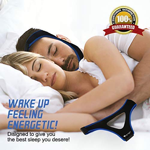 Anti Snoring Chin Strap - Most Effective Snoring Solution and Anti Snoring Devices - Snoring Chin Strap - Stop Snoring Sleep Aid for Men and Women (Black Blue)