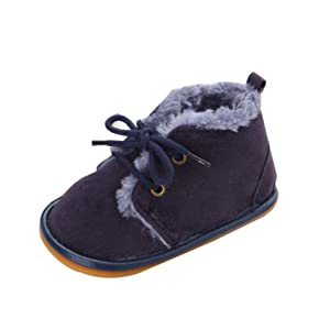Sagton Baby Girls Boys Prewalke Snow Boots Rubber Crib Shoes (US:3, Dark Blue)