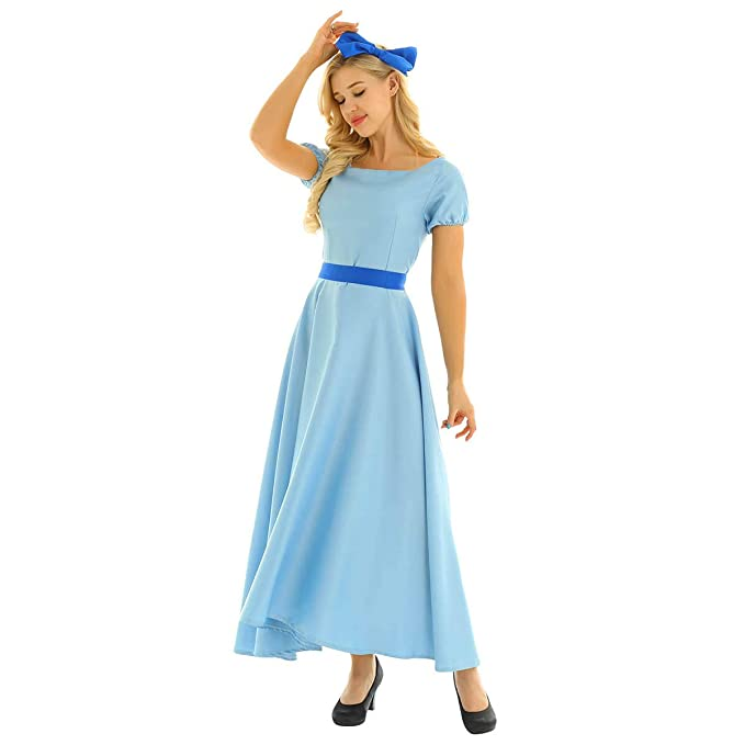 dPois Vestido Largo Azul para Mujer Vestido de Princesa ...