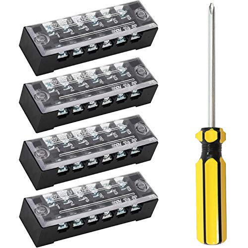 mxuteuk 4 Pcs 6 Positions Dual Rows Covered Screw Barrier Block Terminal Strip Blocks 600V 15A +1 Pcs Phillips Screwdriver TB-1506-LSD