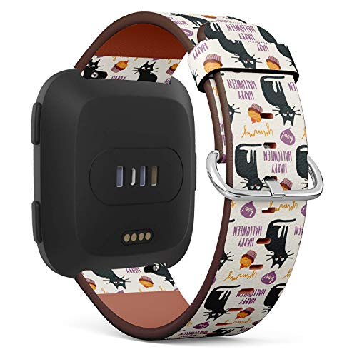 Halloween Black cat and Cupcake - Patterned Leather Wristband Strap Compatible with Fitbit Versa