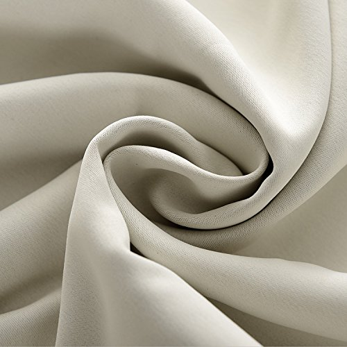 Macochico Outdoor Curtains Noise Reducing Lightproof Home Decoration Beige Waterproof Blackout Pinch Pleat Draperies for Patio Garden Gazebo Porch Living Room 52W x 102L (1 Panel)