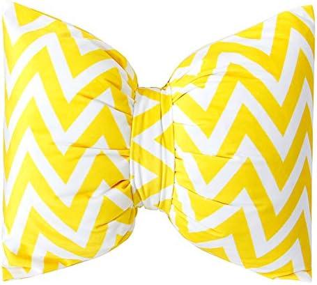 Peacewish Striped Bow Tie Pillow Car Headrest Neck Pillow Plush Sofa Cushion Office Waist Pillow Detachable Wash Yellow Wave, L