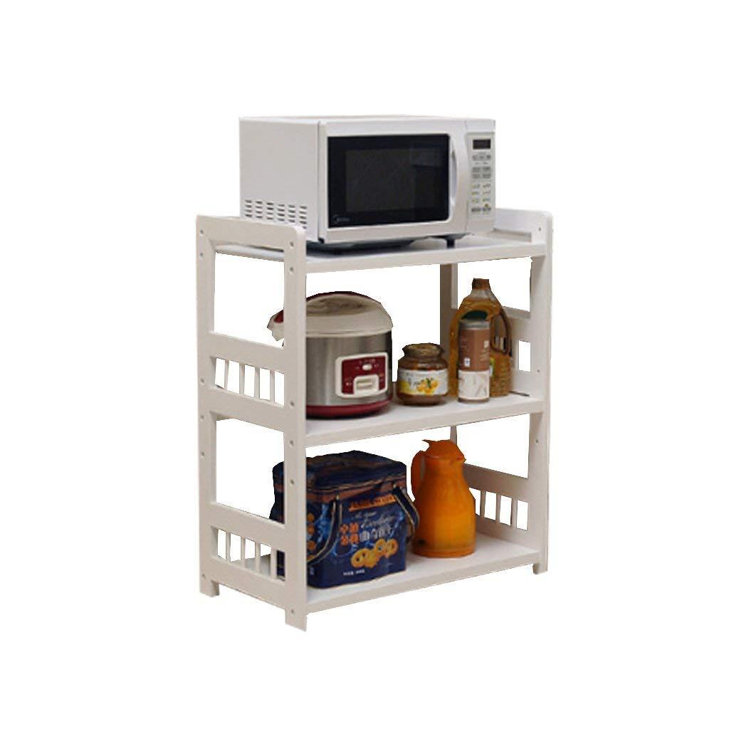 New Products Multifunction White 2-Tier Floor-Mounted Microwave Oven Rack Kitchen Shelf Oven Rack Carbon Steel + Wood Board with Hook Kitchen Shelf Storage Rack Seasoning Shelf (Size:58cm)