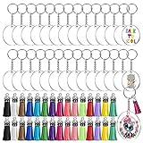 Acrylic Keychain Blanks, Audab 120pcs Clear