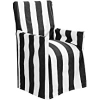 J.elliot Stripe Director Chair Cover, 50x55x85cm, Black