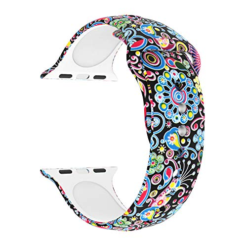 Usitek Sport Band Compatible with iWatch 44mm/42mm 40mm/38mm, Soft Silicone Sport Strap Replacement Floral Printed Bands Compatible for iWatch Series 4/3/2/1 S/M/L for Women/Men ()