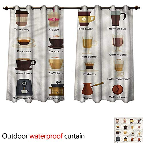 cobeDecor Coffee Outdoor Ultraviolet Protective Curtains Coffee Types Mocha Latte W55 x L45(140cm x 115cm)