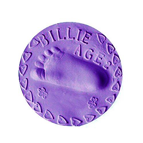 Baby Ornament Keepsake Kit, Chartsea Air Drying Soft Clay Baby Kid Handprint Footprint Imprint Casting Record Growing (Purple)