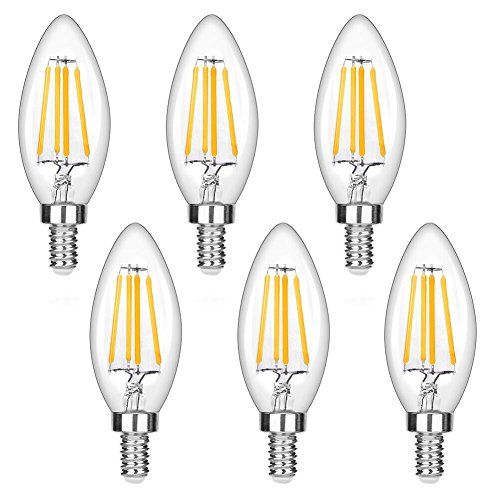 LEDERA Dimmable E12 LED Candelabra Bulb, 40W Halogen Bulbs Equivalent, Warm White 2700K, 6-Pack
