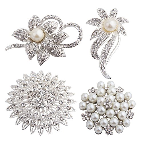 - Wedding Flower Brooch Crystal Brooch Bouquet Wedding Bouque 4 PCS Lot (Silver)