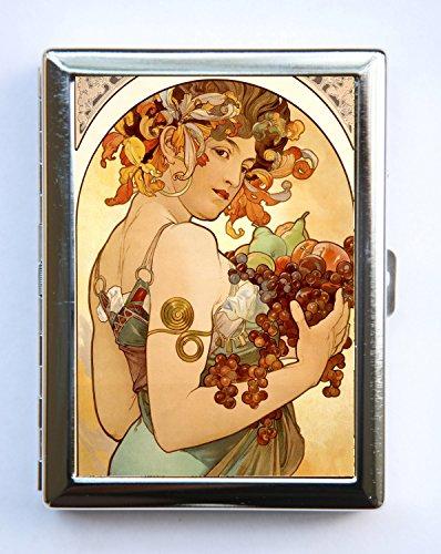 Art Nouveau Mucha Fruit Cigarette Case id case Wallet Business Card Holder