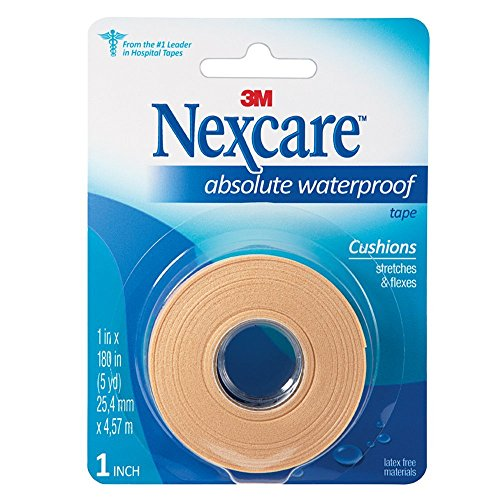 Nexcare Absolute Waterproof First Aid Tape, Cushioned Protection, 1-Inch x 5-Yard Roll (Pack of 6) (Adhesive First Tape Aid)