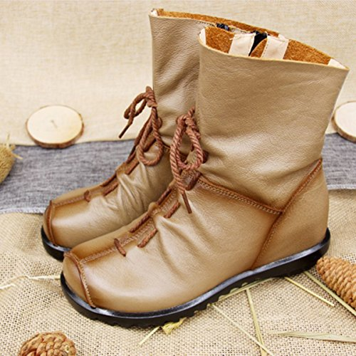 Handmade Soft Up Camel Leather Shoes Ankle Women's Oxford Lace With Zipper Boots Socofy Fashion Flat Women Boots AnHUq0xYw