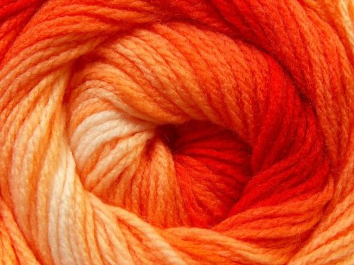 (1) 100 Gram Magic Light Oranges, Orange-Red to Pale Peachy-Orange, Cream White Self-Striping DK Yarn