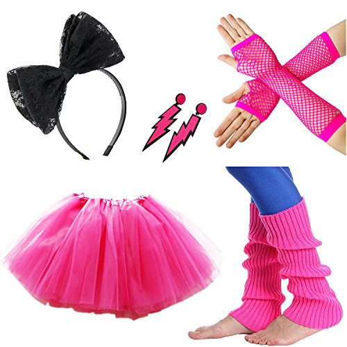 80s Facny Outfit Costume Accessories Tutu Skirt Neon Earrings Leg Warmers Fishnet Gloves Lace Headband for (Girl Costumes Leg)