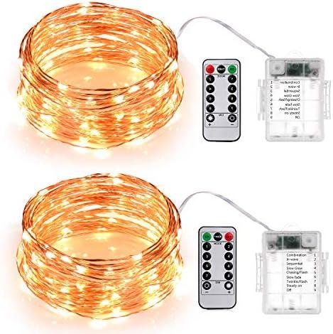 Sunnest Stringa Luci Led, 2 pezzi di catena luminosa 10 metri 100LEDs Stringa Luci LED Impermeabile IP67 con telecomando per Decorazioni Festive e Natale (Bianco caldo)