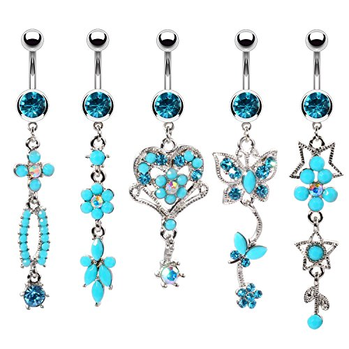 BodyJ4You 5PCS Belly Button Rings 14G Flower Heart Butterfly Steel Aqua Blue CZ Girl Dangle ()