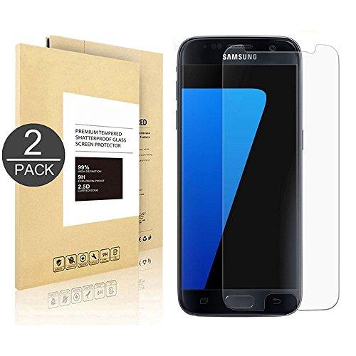 [2 Pack] Samsung Galaxy S7,Linboll Panzerglas Displayschutzfolie für Samsung Galaxy S7 mit Härtegrad 9h Abgerundete Kanten (2.5D)[0.25mm Ultradünner][Hohe Transparenz][Fingerabdruck-frei][Blasenfrei]