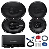 Car Speaker And Amp Combo of 2x Rockford Fosgate R165X3 Prime 6.5'' Inch 180 Watt 3-Way Full-Range Coaxial Speaker Bundle With 2x R169X3 Prime 6x9'' Audio Speakers + 4-Channel Amplifier W/ Install Kit