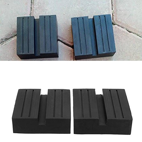 RUNMIND Black 2Pcs Universal Car Slotted Frame Rail Floor Jack Guard Adapter Lift Rubber Pads Hot Sale (Square) by RUNMIND