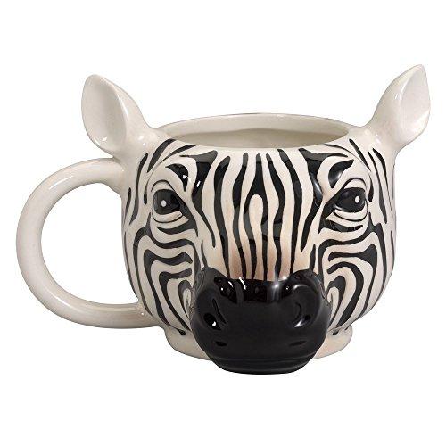 Bits and Pieces - 14 Ounce Zebra Striped Coffee Mug - Porcelain Animal Shaped Tea Cup (Porcelain Zebra)